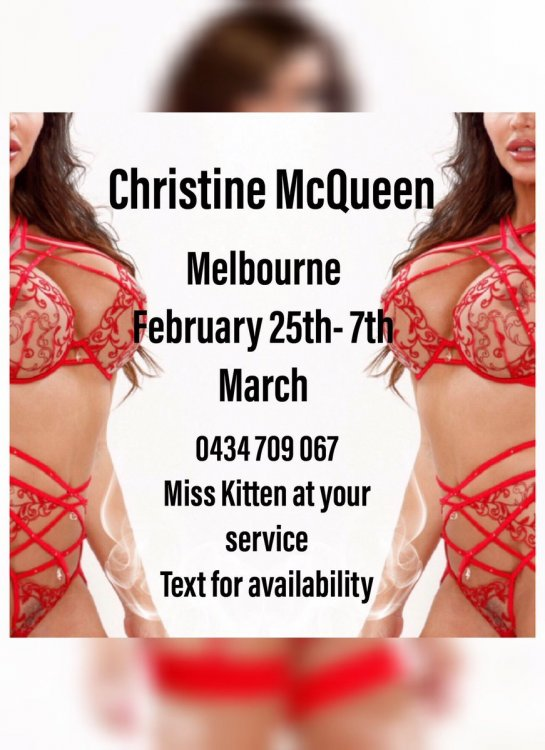 Christine McQueen in Melbourne until March 7th